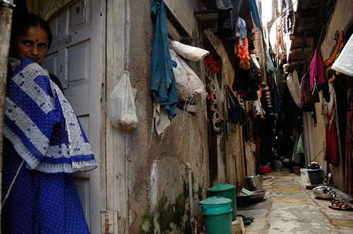 A narrow street in the Kamgar Nagar I slum area, Mumbai, India